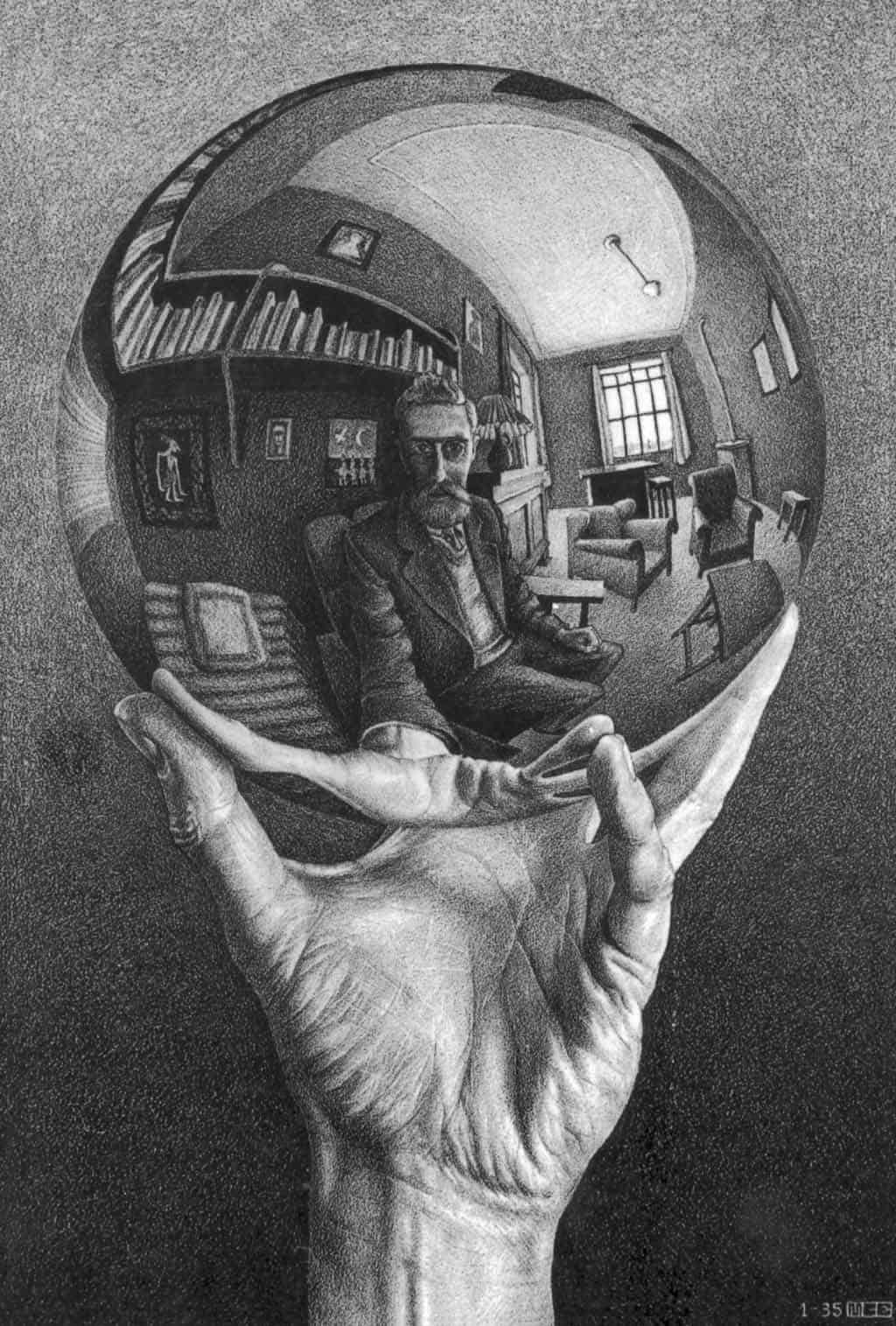 escher hand with reflecting sphere medium