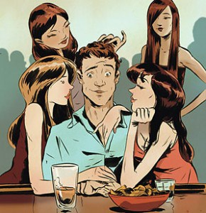 man surrounded by women at